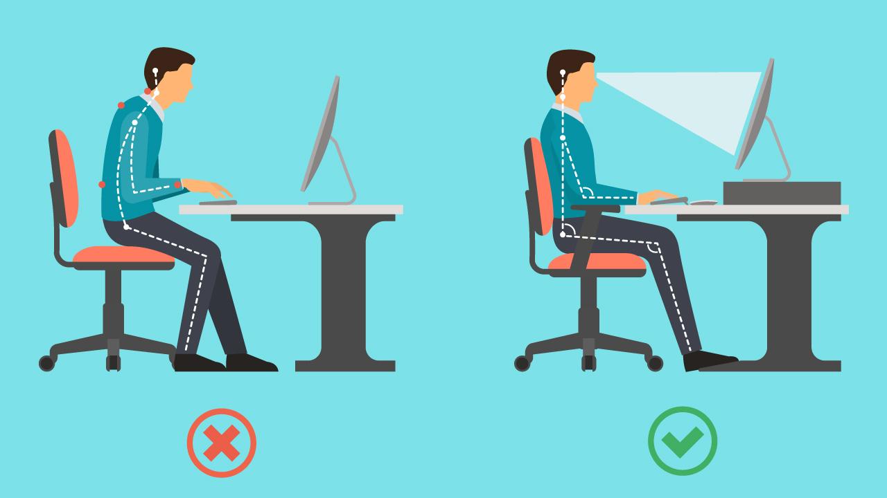 Infograftik zum richtig sitzen am Schreibtisch