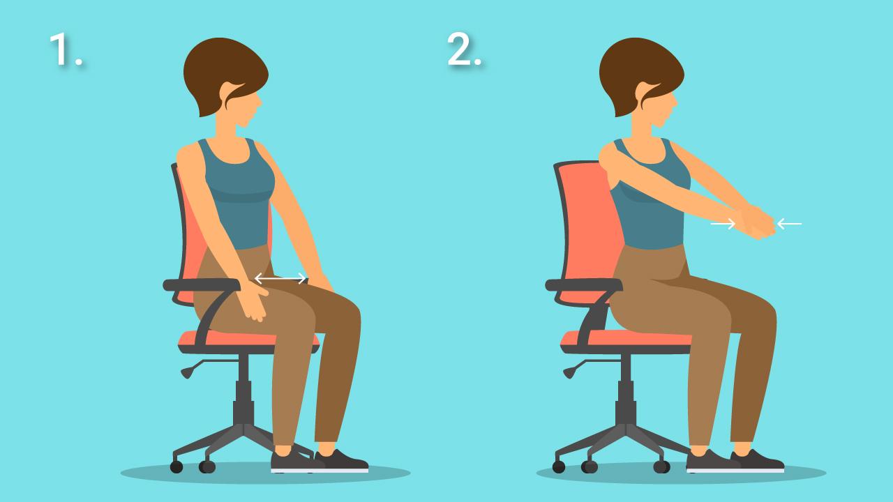 Infografik zu einer Schulterübung für Sport im Büro